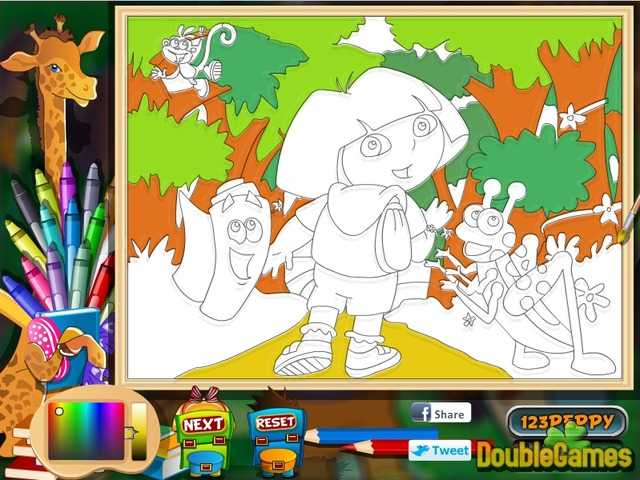 free download dora the explorer online coloring page screenshot 2 - Online Coloring Games
