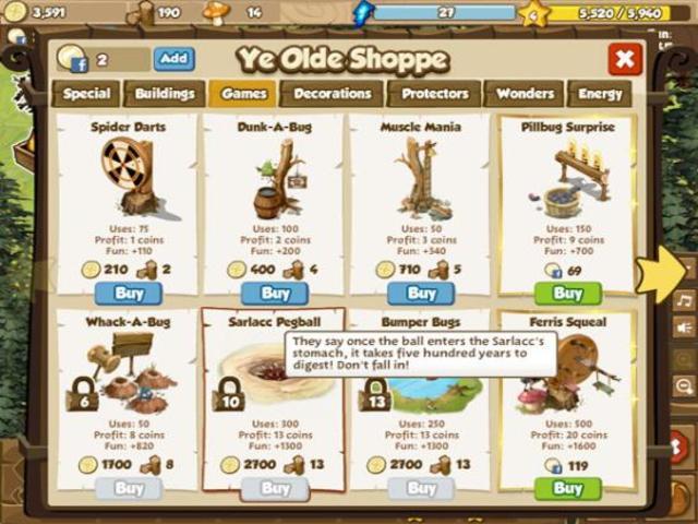Ravenwood Fair online game on FaceBook: overview